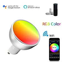 ANYIKE GU10 Smart LED Bulb, 5W Dimmable WiFi Light Bulb, Compatible with Alexa Echo Google Home,No hub required