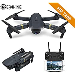EACHINE Drone Plegable con HD Camara, E58 2.0mp 720p Drone Gran Angular Drone WiFi FPV App Juguete Reyes Magos