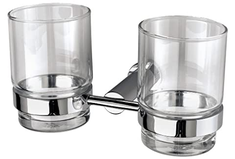 VELMA - 241068 - Exquisite double toothbrush holder from our Pedula range - classic timeless design - highly polished chrome-plated brass and hardened glass - no plastic - premium quality!