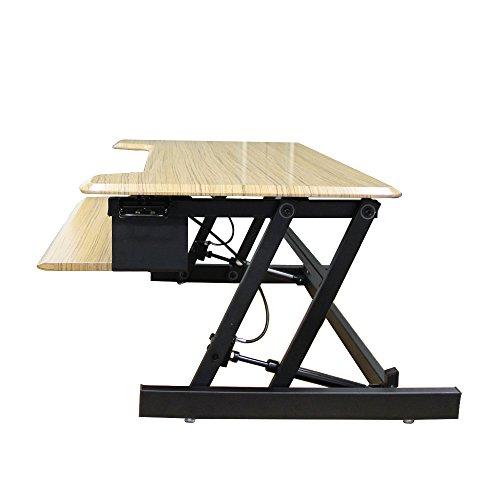 Affordable Soges Height-adjustable Standing Desk 81 cm Sit-stand Computer Workstation, Handbrake Teak S01-Y-81 Online