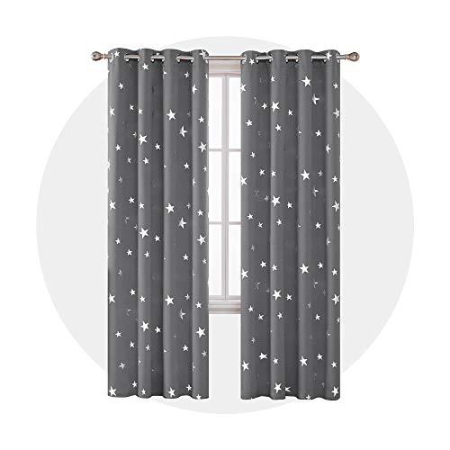 Deconovo Vorhang Blickdicht Ösen Gardinen Sterne Verdunkelungsvorhänge Kinderzimmer 229x117 cm Grau 2er Set