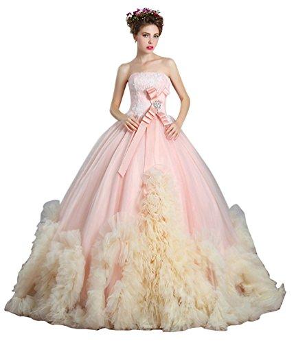 h Ballkleid Reich-Spitze Puffy Tüll bodenlangen Luxus-Performance-Abschlussball-Brautpartei Brautkleid Farbe Rosa, Größe UK12 (Erste Kommunion Kleider Puffy)