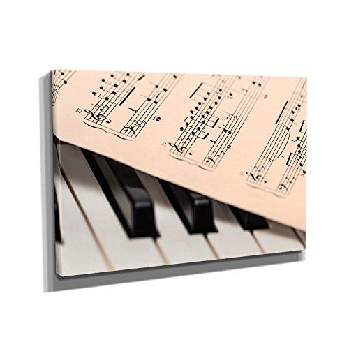 Nerdinger Piano Notes - Kunstdruck auf Leinwand (40x60 cm) zum VERSCHÖNERN IHRER Wohnung. Verschiedene Formate AUF ECHTHOLZRAHMEN. HÖCHSTE QUALITÄT, UMWELTBEWUSST hergestellt. MIT GARANTIE.