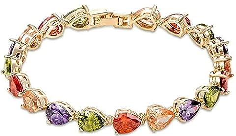 anazoz Fashion Jewelry Bracelet Femme Plaqué or Bracelets pour Femme forme goutte d'eau couleur multicolore CZ