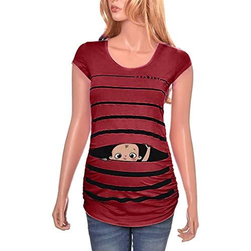 Mutterschaft T-Shirt Damen Sommer Kurzarm Umstandsmode T-Shirts Cute Mutterschaft Kleidung Lustige Witzig Spähen Baby Gedruckt Baumwolle Schwangerschaft Tops - Mutterschaft Shirt
