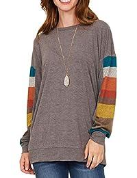 Flying Rabbit Damen Baumwolle Shirt Tops Leicht Rundhals Pullover