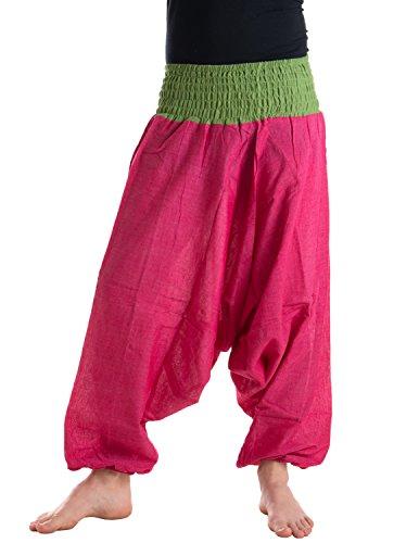 Vishes – Alternative Bekleidung – Baumwoll Haremshose mit gestreiftem oder farbigem Bund rosa-hellgrün