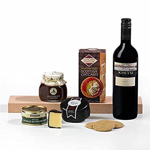 Ploughman's Lunch: Cheese, Pate and Red Wine Hamper Gift. FREE UK Delivery