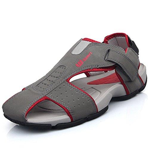 Men's Genuine Leather Round Toe Walking Sandals Dark Grey