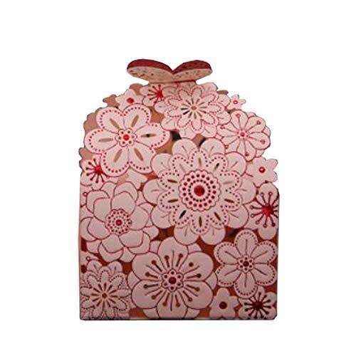 Chinashow 50pcs Hohle Blumen-dekorative Festlichkeits-Kasten-Hochzeitsfest-Bevorzugungs-Kasten-Süßigkeits-Taschen-Schokoladen-Geschenk-Kästen Rosa