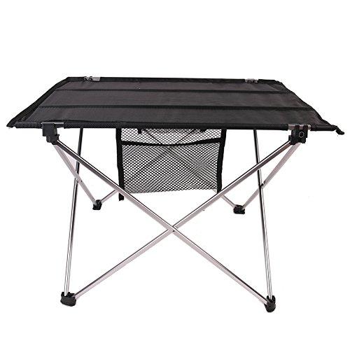 Happyx tavolo pieghevole portatile da campeggio, tavolino da picnic con sacca per trasporto, ottimo per escursionismo, pesca, viaggio, caccia, sport e party (argento)