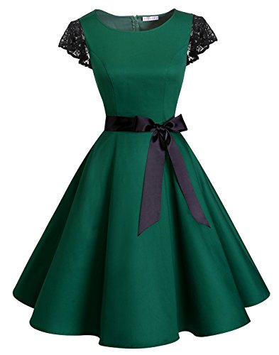 BeryLove Women's Vintage 50s Lace Sleeves Short Retro Rockabilly Swing Coaktail Party Dresses