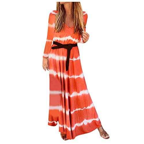 DAY.LIN Geschenk fur Frauen Weihanchten Damen Kleid Langärmliges Kleid mit gestreiftem V-Ausschnitt Langes lässiges Kleid