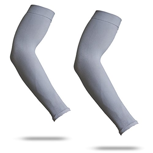 YISEVEN Sports Kompressionsarm Ärmel (1 Paar) Erwachsene - 3/4 lang dünne Hülse für Baseball Shooter Fledermaus Basketball schießen Läufer Fußball Golf UV Sonne schützen Zubehör, um Tattoos zu decken Frauen Männer - Falke Grau (Blau-volleyball-decke)
