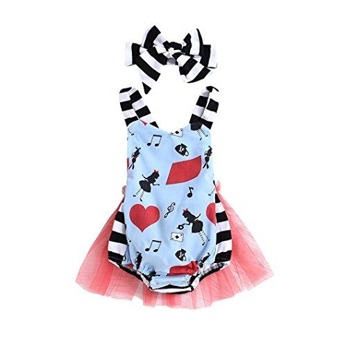 aby Alice im Wunderland Bodys Mädchen Sport Mode Säugling Strampler mit Tütü Prinzessin Niedlich Band Spieler, 0-24 Monate (12 Monate, Blau) (Alice Im Wunderland Kostüme Für Kleinkind)