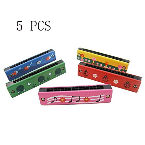 BIEE 5 stücke Holz Bemalt Mundharmonika Kinder Kinder Musikinstrument Educational Musik Spielzeug(Zufällige Farbe)