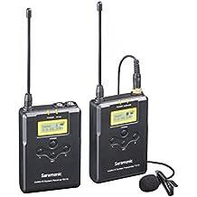 Saramonic UWMIC15 sistema de micrófonos inalámbricos de solapa digital UHF de 16 Canales con transmisor de bolsillo, receptor portátil, micrófono de solapa, montaje de zapata, salidas XLR/3.5mm (RX15+TX15)