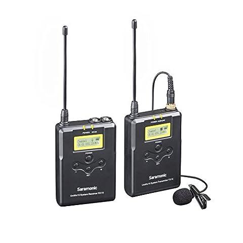 Système de microphone Lavalier sans fil à 16 chaines digitales UHF Saramonic UWMIC15 avec émetteur, récepteur portable, Micro Lav, support de griffe, Sorties XLR/3.5mm (RX15+TX15)