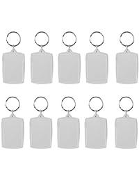 Lote de 10 llaveros con anilla y marco para fotos DIY, rectangular 4 x 5,6 cm