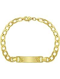faf57d2ac049 In Season Jewelry Pulsera de Identificación chapada en Oro DE 18 Quilates para  Niños
