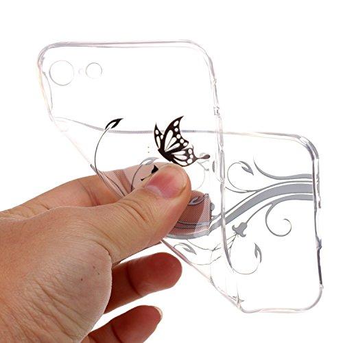 Etsue TPU Schutzhülle für iPhone 7 Ultra Dünn Crystal Silikon Handyhülle Case Cover, iPhone 7 Kristall Klar Durchsichtig Handytasche TPU Silikon Transparent Clear Case Weiche Rückseite Tasche Etui Bum Schmetterling