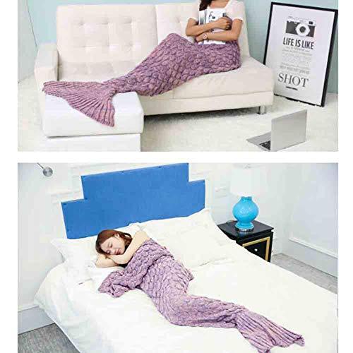 Yiwu coperte coperta a coda di sirena lavorata a mano con dettagli a scala di pesce coperta splendida e accogliente, sacco a pelo più caldo (colore : 3)