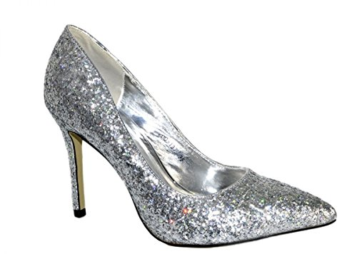 Dentelle femmes escarpins paillettes talons hauts fête talons Chaussures Argent - Argent