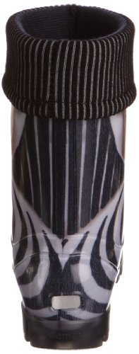Toughees Warm Fleece-sock Zebra Wellies, Bottes de Pluie mixte adulte Noir - Noir