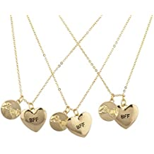"Lux Accessories Collares de la amistad ""BFF"" (Best Friends Forever), tono dorado, 3 unidades"