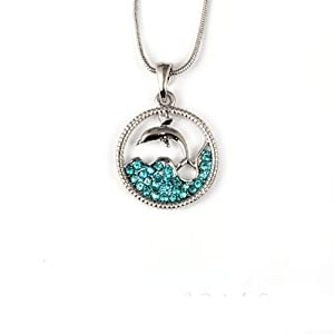 """Stunning Dolphin and Sea in a Circle with Blue Crystals Pendant 18"""" Chain"""