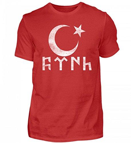 Türk Göktürk Türkei Shirt mit Halbmond in Göktürkischer Schrift - Herren Shirt