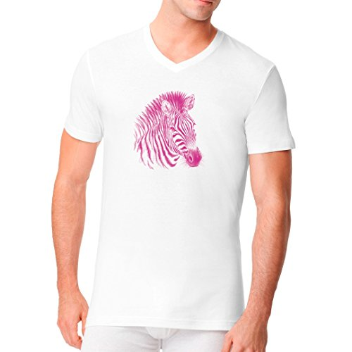 Fun Männer V-Neck Shirt - Pink Zebra by Im-Shirt Weiß