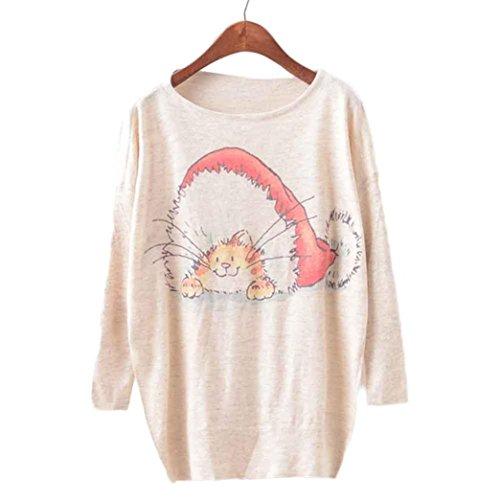 Koly_Donna di Natale Batwing maniche lunghe di colore allentato maglione Maglieria Top B