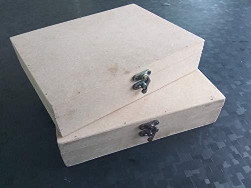 Kreatish DIY Set of 2 Rectangular MDF Multipurpose Box (9 by 7 by 2 inch)