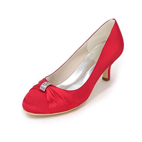 L@YC Tacchi alti delle donne comode scarpe da sposa Fine con il colore di nozze in raso color Multi-Color Code Red