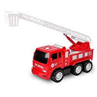 TWFRIC Fire Truck for Kids, Inertial Fire Engine Toy with Extending Ladder Rescue Vehicles Toy Cars for Kids Boys Girls