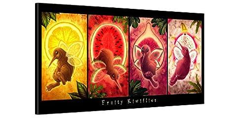 Impression Giclée sur Toile en Grand Format - Fruity Kiwiflies – 100x50cm XXL Collection Enfant - Photo sur Toile de Tendue sur Châssis en bois – Tableau Artistique Contemporain – Image Déco d'Art Murale Prêt à