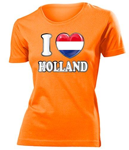 Holland Niederlande Netherlands Nederland Fan t Shirt Artikel 4785 Fuss Ball EM 2020 WM 2022 Team Trikot Look Flagge Fahne Frauen Damen Mädchen S