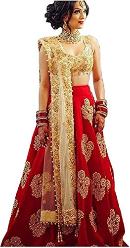 JD Creation New Emrodred Taffeta Silk Embroidered Lehenga Choli Free Size (Taffeta Silk Red Diamond)