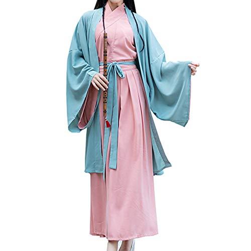 LJLis Halloween Cosplay Hanfu chinesisches traditionelles Kostüm Einteiliger Faltenrock Großer Ärmelmantel,S -