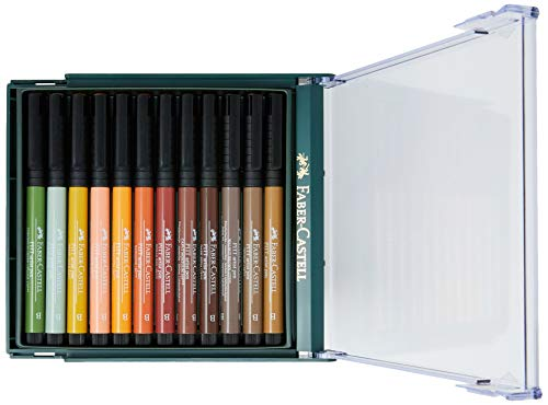 Faber-Castell 267422 - Pack de 12 rotuladores tinta china Pitt con punta de pincel en colores tierra