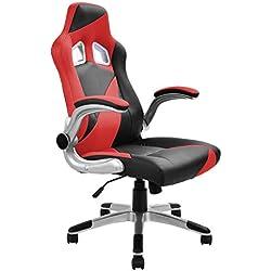Bürostuhl Gaming Stuhl Schreibtischstuhl Chefsessel Sportsitz Drehstuhl Bürodrehstuhl Büromöbel mit Armlehnen höhenverstellbar (rot)