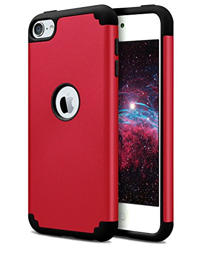 Dailylux iPod Touch 7 Hülle,iPod Touch 6 Hülle,iPod Touch 5 Hüllen,Slim Dual Layer Schutzhülle für Mädchen Jungen Hybrid Hard Hülle und Weiches Silikon für Apple iPod Touch 5/6/7-Rot+Schwarz Rot Ipod Touch