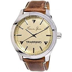 Triarrows Classic Herren-Armbanduhr 45mm Armband Leder Braun Gehäuse Edelstahl Quarz Analog TPT01