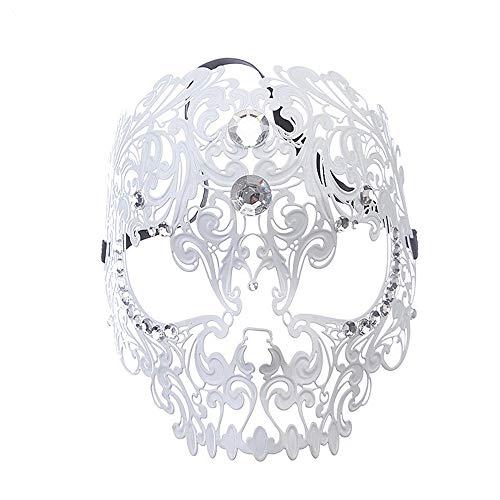 ichtsmaske Halloween - Make - up Cosplay Requisiten Metall Eisen voll diamanten - Maske,weiße ()
