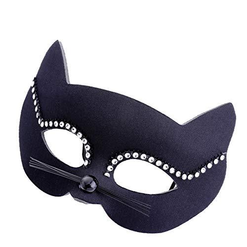 Das Kostüm Glänzende Party - WDOIT 1 x Halloweemaske in Katzenform, Kunststoff, glänzende Maske, Weihnachten, Kostüm, Maskerade, Party-Zubehör 17.5 * 18cm dunkelblau