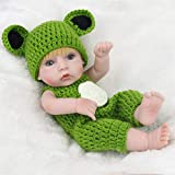 28cm Baby Doll Yellow Hair Eco-friendly Silicone Boy Doll Green Sweater Doll Children Gift With Frog Bodysuit And Glengarry Rone life