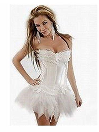 Burlesque Korsett-Tutu & Kostüm Lolita outfit-weiß-Größe 42 EU (Weißen Korsett-outfit)