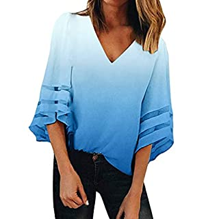 BaZhaHei Women's V Neck Mesh Panel Blouse Loose 3/4 Bell Sleeves Tops Floral Print Lace Patchwork Tees Blue