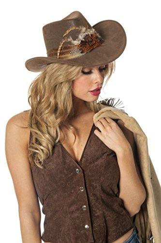Jannes 9266 Cowboy-Hut Dallas mit Schnüren und Indianer-Feder Erwachsene Einheitsgröße Braun